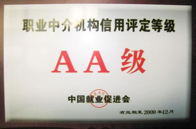 置业中介机构信用评定等级证书
